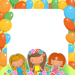 Illustration of a Birthday Celebrant three girls