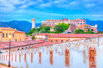 Wall Mural - Panoramic view over Stella fortress, Portoferraio town of  isola d'Elba, Elba island in Tuscany region, Italy.