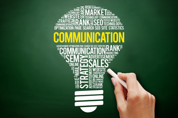 COMMUNICATION bulb word cloud collage, business concept on blackboard