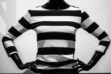 Striped blouse on mannequin in black and white