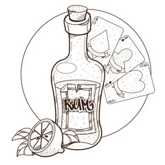 Bottle of rum and playing cards clipart on pirate theme.