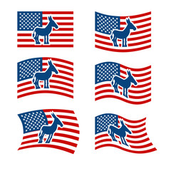 Donkey Flag. Democrat National flag of presidential election in