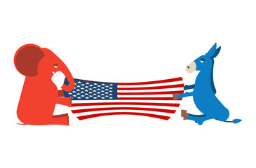 Elephant and Donkey divide USA flag. Political Party of America.