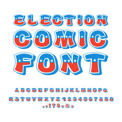 Election comic font. Political debate in America alphabet. USA N