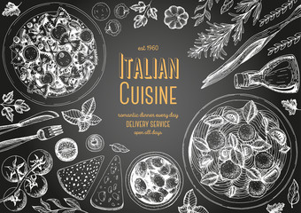 Italian cuisine top view chalkboard frame. Italian food menu design. Vintage hand drawn sketch vector illustration.