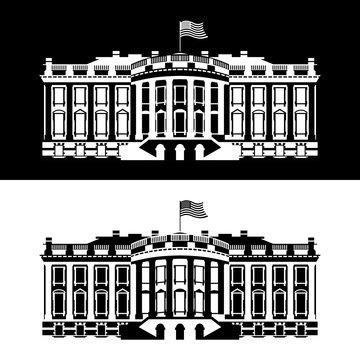 White House America black and white icon. Residence of President