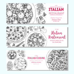 Italian food vintage design template. Horizontal banners set. Vector illustration