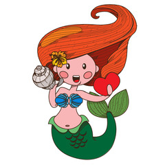 Mermaid. Clipart on the marine theme.