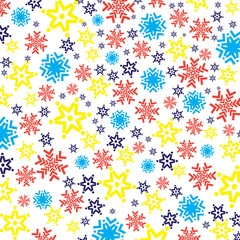 Bright colorful background with snowflakes
