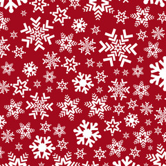 Bright red background with snowflakes