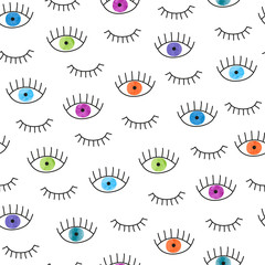 Colorful doodle eyes seamless pattern. Vector background with watercolor eyes and lashes.