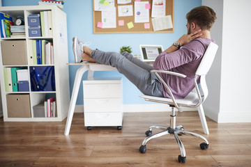 Comfortable position to work in the office