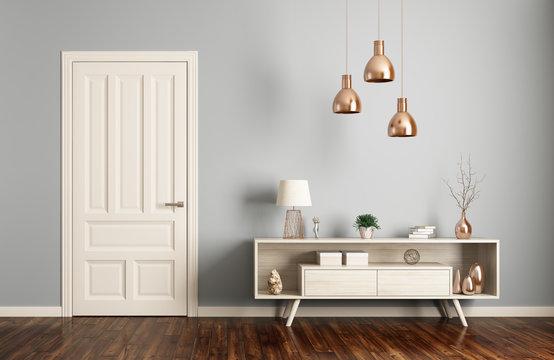 Modern living room interior with door 3d rendering