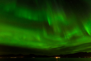Aurora borealis or northern lights at Tromso, Norway