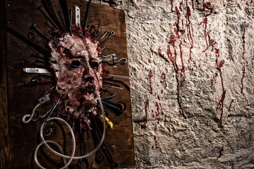 Skinned bloody face of a person