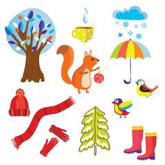 Winter and Chtistmas set symbols cartoon