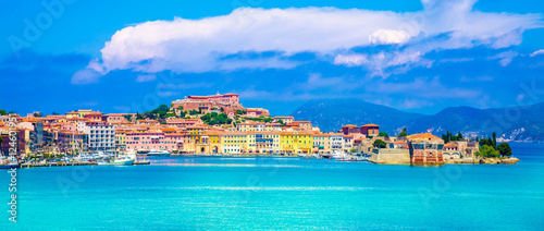 Wall mural Panoramic view over Portoferraio town of  isola d'Elba, Elba island in Tuscany region, Italy.