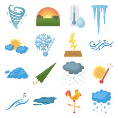 Weather set icons in cartoon style. Big collection weather vector symbol stock illustration