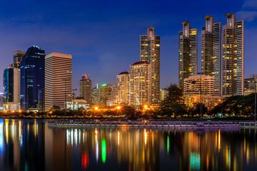 Modern Office Buildings in Bangkok, Thailand, at Night