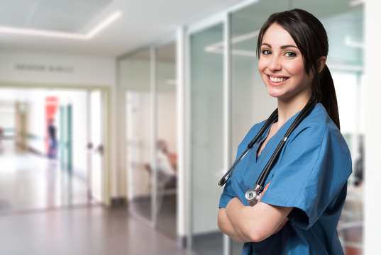 Smiling young nurse in a hospital