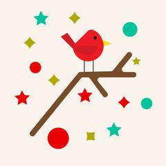Christmas bird vector icon.