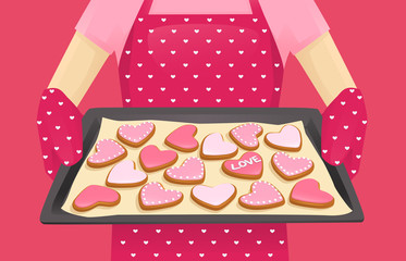 Baking tray with heart shape cookies decorated Valentines day background