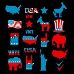American Elections icon set. Republican elephant and Democratic
