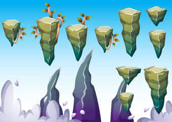 cartoon vector floating island object with separated layers for game art and animation game design asset in 2d graphic