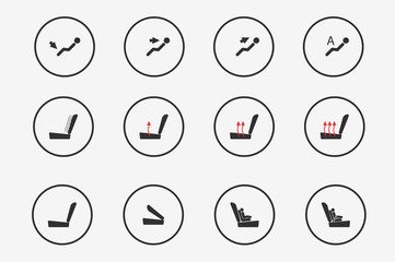 Modern set of car seat icons in grey colors