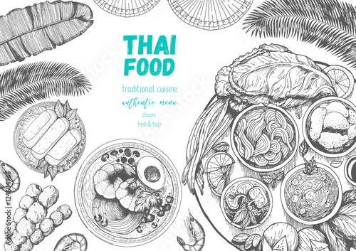 U0026quot;Asian Food Background. Asian Food Poster. Thai Food Menu Restaurant. Thai Food Sketch Menu ...