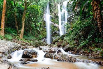 beautiful view waterfall or nature and sky for top travel in tha