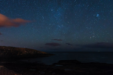 Stars over Cullernose Point, just south of Craster Village on the Northumberland Coastline