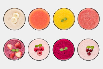 Mockup fruit smoothie and fruit juice set isolated on white backgruond.