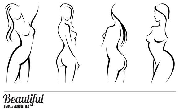 Set stylized beautiful women silhouettes