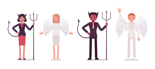 Set of male, female angel and devil in a formal wear standing in a line. Cartoon vector flat-style illustration