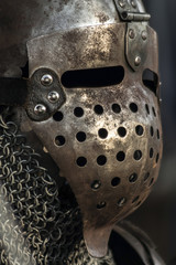Medieval metal warrior helmet and suit