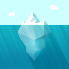 Iceberg vector illustration, big iceberg in ocean water floating with huge underwater part