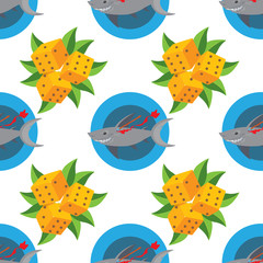 Seamless pattern for design surface Wounded shark.