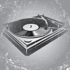 illustration in retro style with DJ console on gray background with scratches