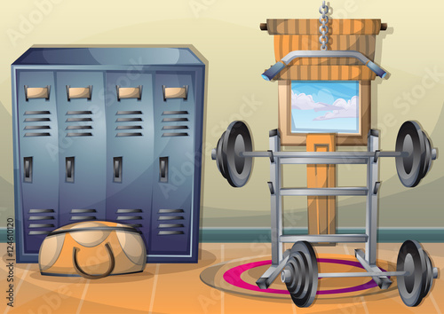Quot cartoon vector illustration interior fitness room with