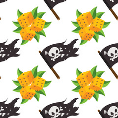 Seamless pattern for design surface Black Jolly Roger pirate flag.