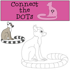 Educational game: Connect the dots. Little cute lemur smiles.