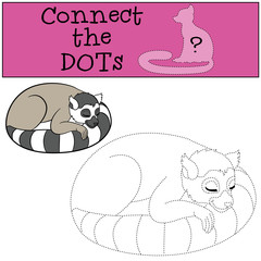 Educational game: Connect the dots. Little cute lemur sleeps.