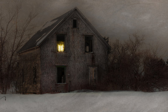 Haunted farmhouse with one light burning.