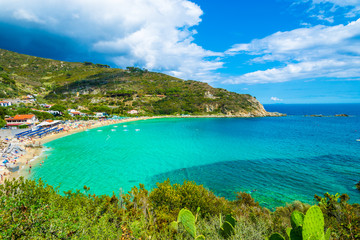 Wall Mural - Panoramic view over cavoli beach and coast in Elba island, Tuscany, Italy.
