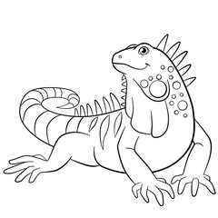 Coloring pages. Cute iguana smiles.
