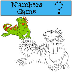 Educational game: Numbers game. Cute green iguana.
