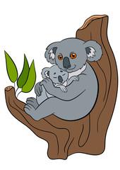 Cartoon animals. Mother koala with her little cute baby.