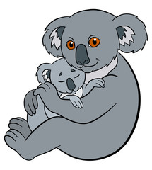 Cartoon animals. Mother koala holds her little cute baby.