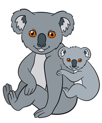 Cartoon animals. Mother koala sits with her little cute baby.